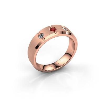 Foto van Heren ring Remco 375 rosé goud robijn 2.7 mm