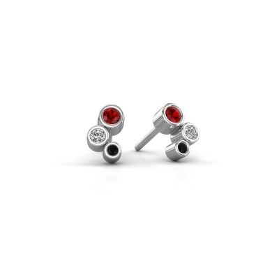 Picture of Stud earrings Marlys 585 white gold ruby 2.5 mm
