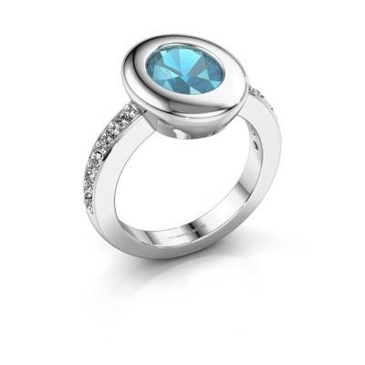 Foto van Ring Selene 2 585 witgoud blauw topaas 9x7 mm