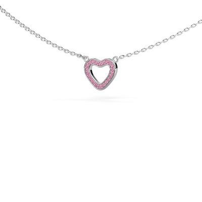 Foto van Hanger Heart 4 585 witgoud roze saffier 0.8 mm
