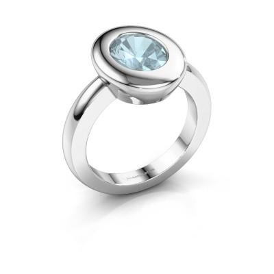 Ring Selene 1 950 platina aquamarijn 9x7 mm