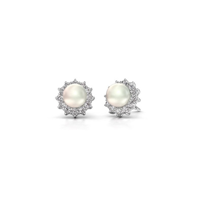 Photo de Boucles d'oreilles Tess 585 or blanc perle blanche 7 mm