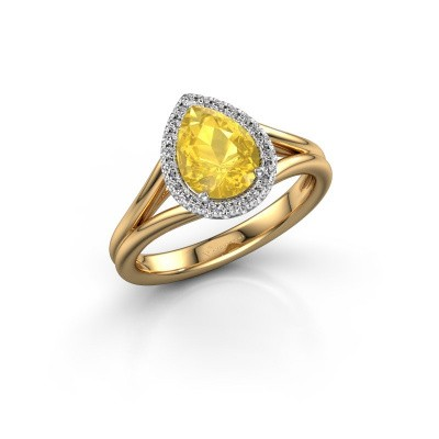 Verlovingsring Verla pear 1 585 goud gele saffier 8x6 mm