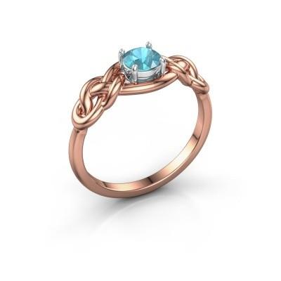 Foto van Ring Zoe 585 rosé goud blauw topaas 5 mm