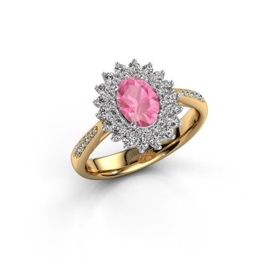 Engagement ring Alina 2 585 gold pink sapphire 7x5 mm
