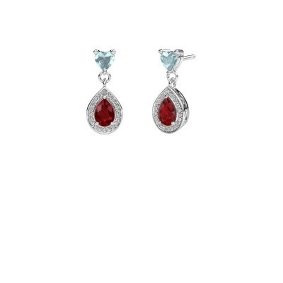 Picture of Drop earrings Susannah 585 white gold ruby 6x4 mm