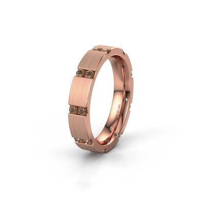 Huwelijksring WH2132L14BM 375 rosé goud bruine diamant ±4x2.2 mm