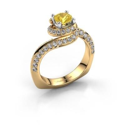 Verlovingsring Sienna 585 goud gele saffier 5 mm