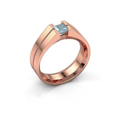 Foto van Heren ring Stefan 375 rosé goud aquamarijn 4.5 mm