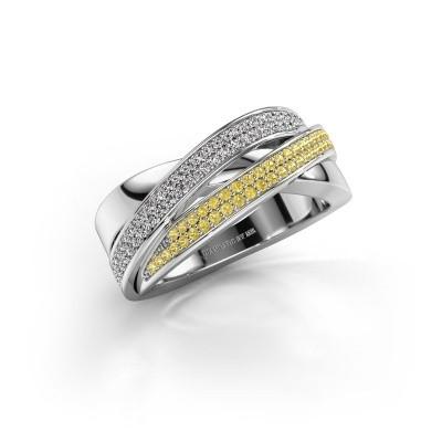 Ring Myra 950 platina gele saffier 1 mm