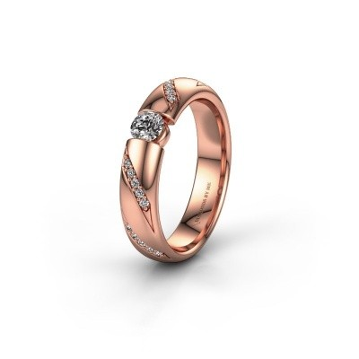 Trouwring WH2102L34A 375 rosé goud lab-grown diamant ±4x1.7 mm