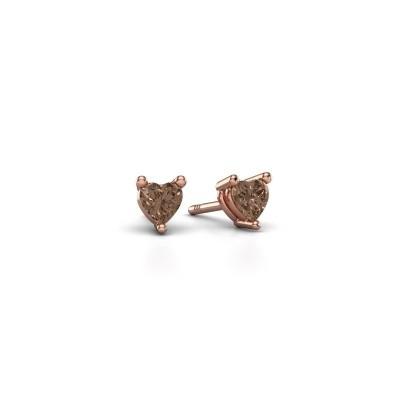 Foto van Oorstekers Garnet 375 rosé goud bruine diamant 0.50 crt