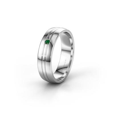 Trouwring WH0420L25X 925 zilver smaragd ±5x1.5 mm