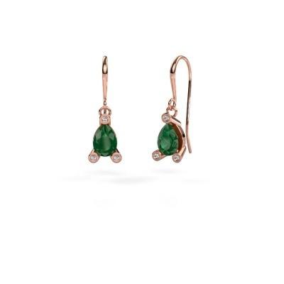 Drop earrings Bunny 1 375 rose gold emerald 7x5 mm