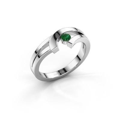 Ring Yentl 585 witgoud smaragd 3 mm
