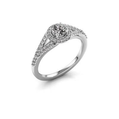 Verlovingsring Pamela RND 585 witgoud diamant 0.577 crt