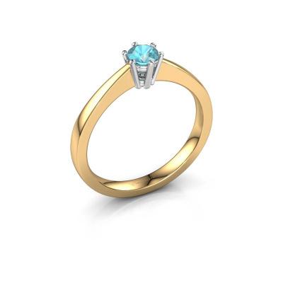 Verlobungsring Noortje 585 Gold Blau Topas 4 mm