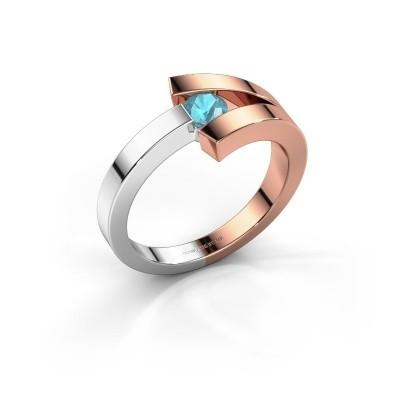 Foto van Ring Sofia 585 rosé goud blauw topaas 3.7 mm