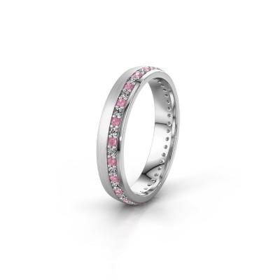 Trouwring WH0303L24AM 925 zilver roze saffier ±4x1.7 mm