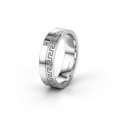 Huwelijksring WH0252L24X 585 witgoud diamant ±4x1.5 mm