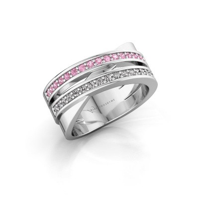 Ring Margje 585 witgoud roze saffier 1.3 mm