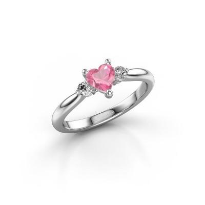 Foto van Verlovingsring Lieselot HRT 585 witgoud roze saffier 5 mm