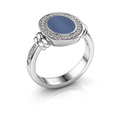 Zegelring Bailey 950 platina blauw lagensteen 10x8 mm