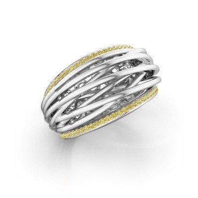 Ring Kirstin 950 platina gele saffier 1 mm