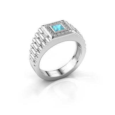 Foto van Heren ring Zilan 950 platina blauw topaas 4 mm