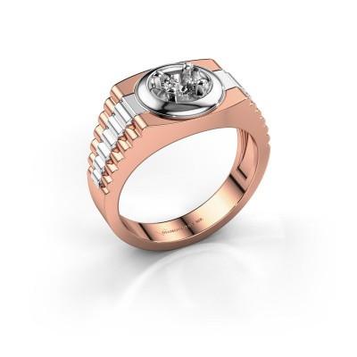 Foto van Heren ring Edward 585 rosé goud diamant 0.40 crt