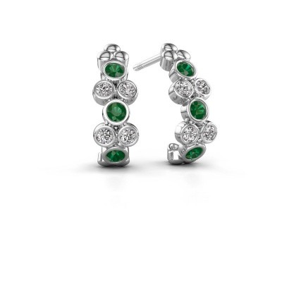 Earrings Kayleigh 925 silver emerald 2.4 mm