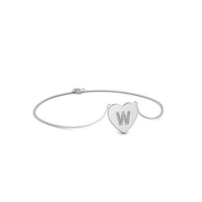 Foto van Armband Initial Heart 375 witgoud zirkonia 1 mm