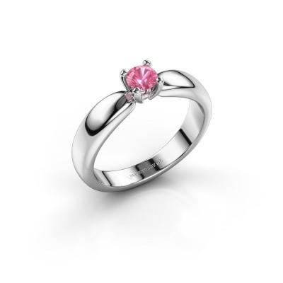 Promise ring Katrijn 585 witgoud roze saffier 4.2 mm