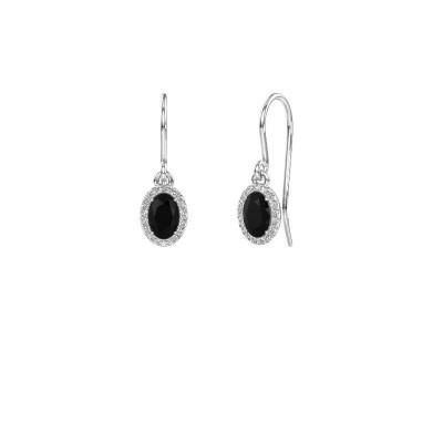 Oorhangers Seline ovl 585 witgoud zwarte diamant 1.360 crt