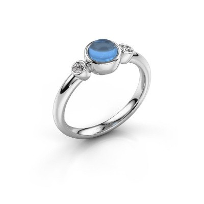 Ring Muriel 925 zilver blauw topaas 5 mm