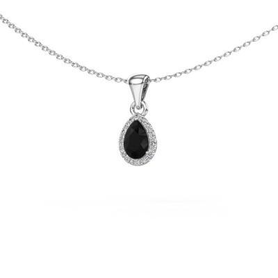 Halskette Seline per 585 Weißgold Schwarz Diamant 0.54 crt