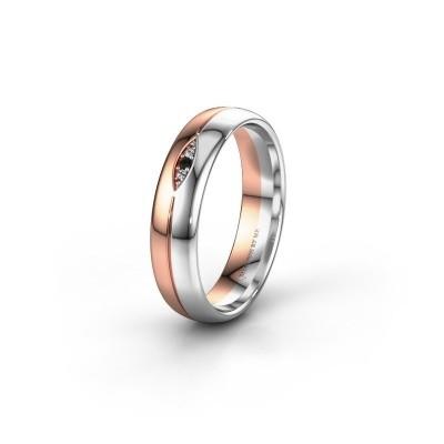 Trouwring WH0219L35X 585 rosé goud zwarte diamant ±5x1.4 mm