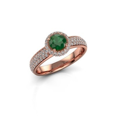 Engagement ring Mildred 375 rose gold emerald 5 mm