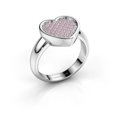 Ring Veerle 925 zilver roze saffier 1 mm