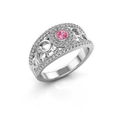 Foto van Ring Lavona 950 platina roze saffier 3.4 mm