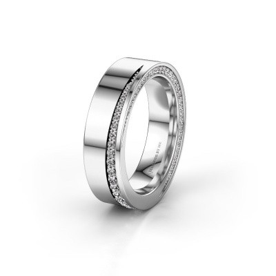 Trouwring WH1002L15DP 585 witgoud diamant ±6x2.3 mm