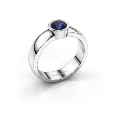 Foto van Ring Ise 1 585 witgoud saffier 4.7 mm
