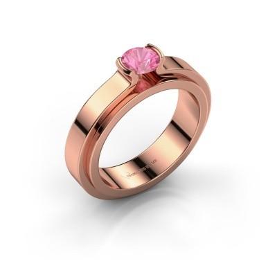Foto van Verlovingsring Jacinda 585 rosé goud roze saffier 4.7 mm