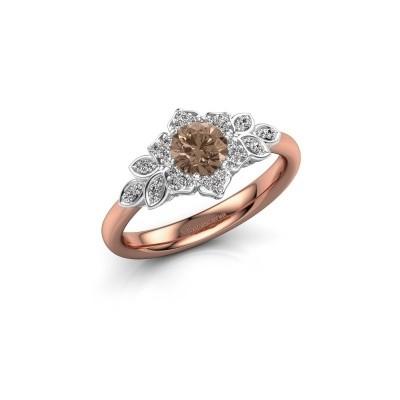Foto van Verlovingsring Tatjana 585 rosé goud bruine diamant 0.635 crt