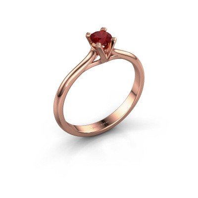 Foto van Verlovingsring Isa 1 375 rosé goud robijn 4 mm