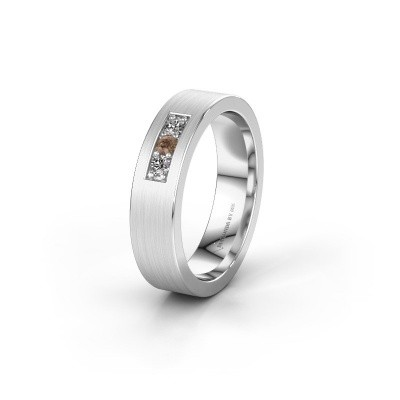 Wedding ring WH0110L15BM 375 white gold brown diamond ±5x2 mm