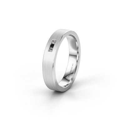 Wedding ring WH0106L14AM 585 white gold black diamond ±4x1.7 mm