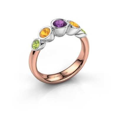 Ring Lizz 585 rosé goud amethist 4 mm