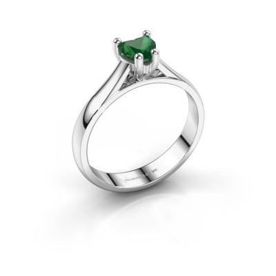 Foto van Verlovingsring Sam Heart 585 witgoud smaragd 5 mm