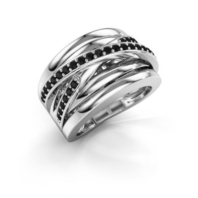 Foto van Ring Clair 3 950 platina zwarte diamant 0.594 crt